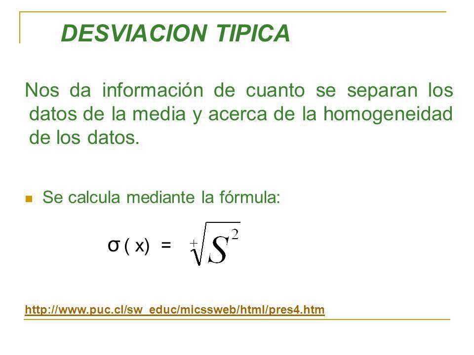 DESVIACION TIPICA σ ( x) =