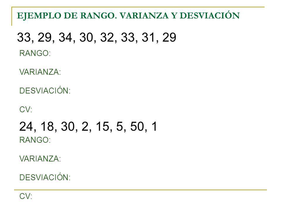 EJEMPLO DE RANGO. VARIANZA Y DESVIACIÓN