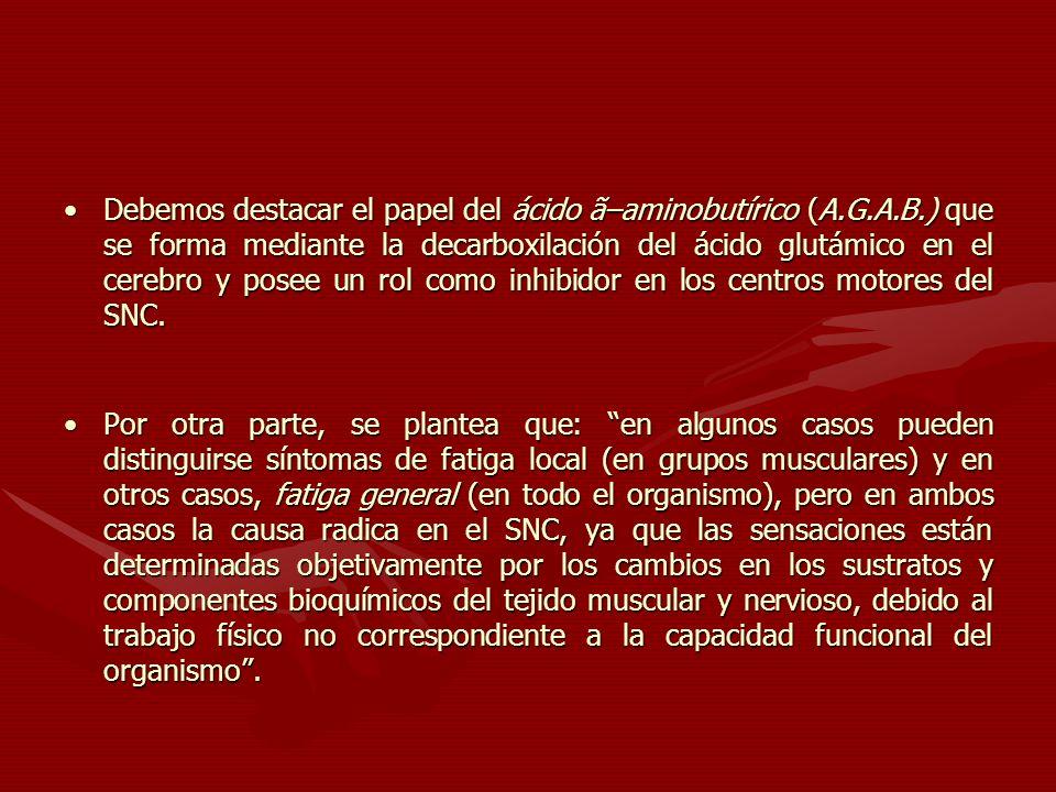 Debemos destacar el papel del ácido ã–aminobutírico (A. G. A. B