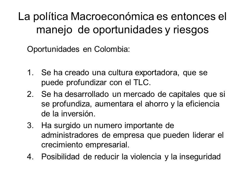 La política Macroeconómica es entonces el manejo de oportunidades y riesgos