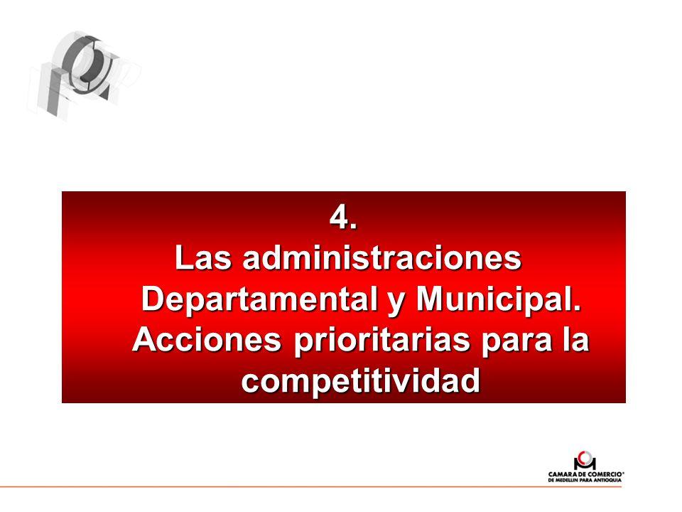 4. Las administraciones Departamental y Municipal. Acciones prioritarias para la competitividad