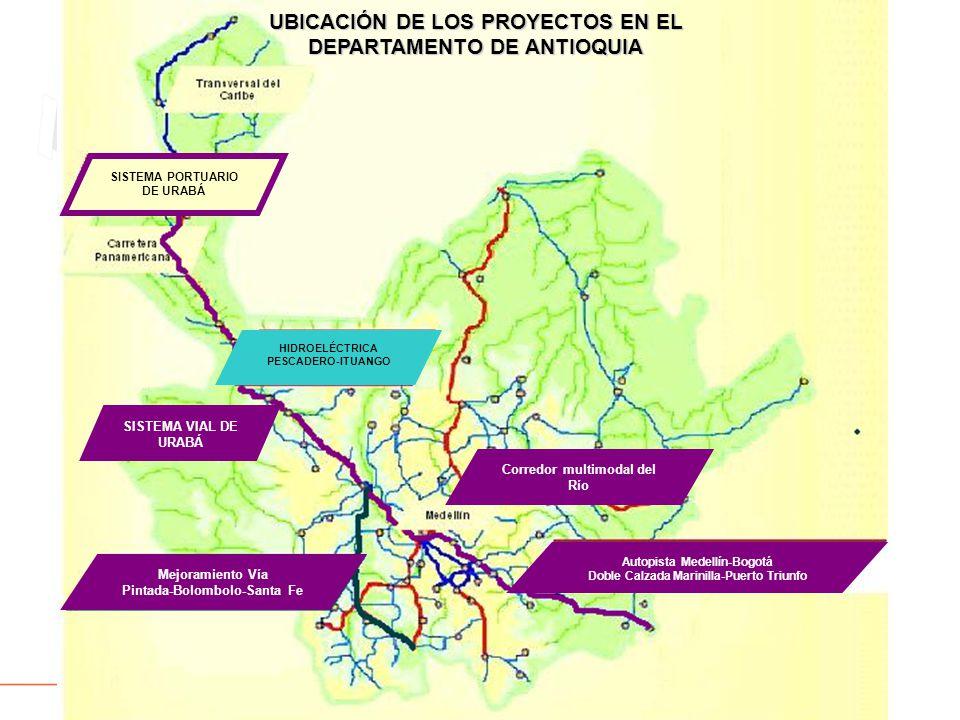 UBICACIÓN DE LOS PROYECTOS EN EL DEPARTAMENTO DE ANTIOQUIA