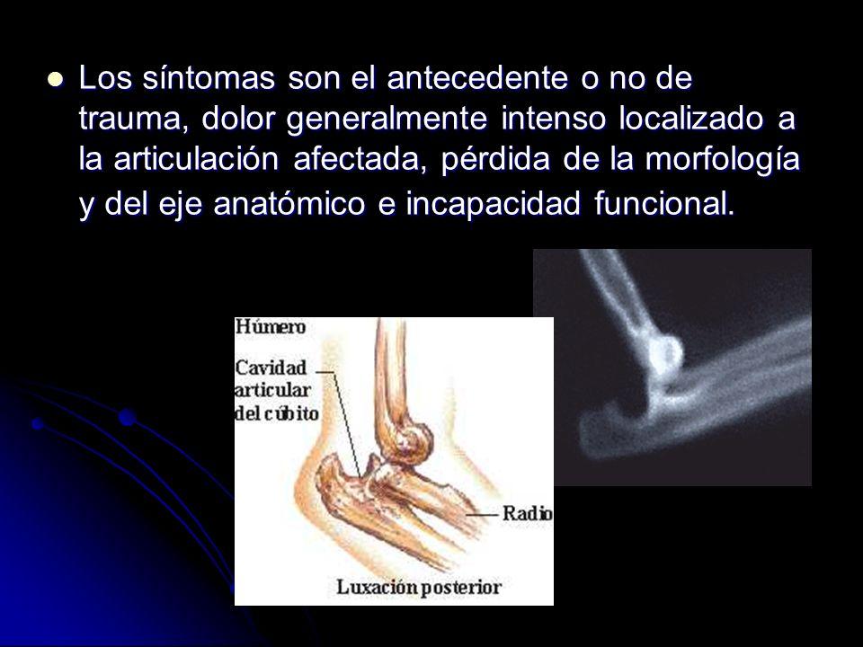 Los síntomas son el antecedente o no de trauma, dolor generalmente intenso localizado a la articulación afectada, pérdida de la morfología y del eje anatómico e incapacidad funcional.