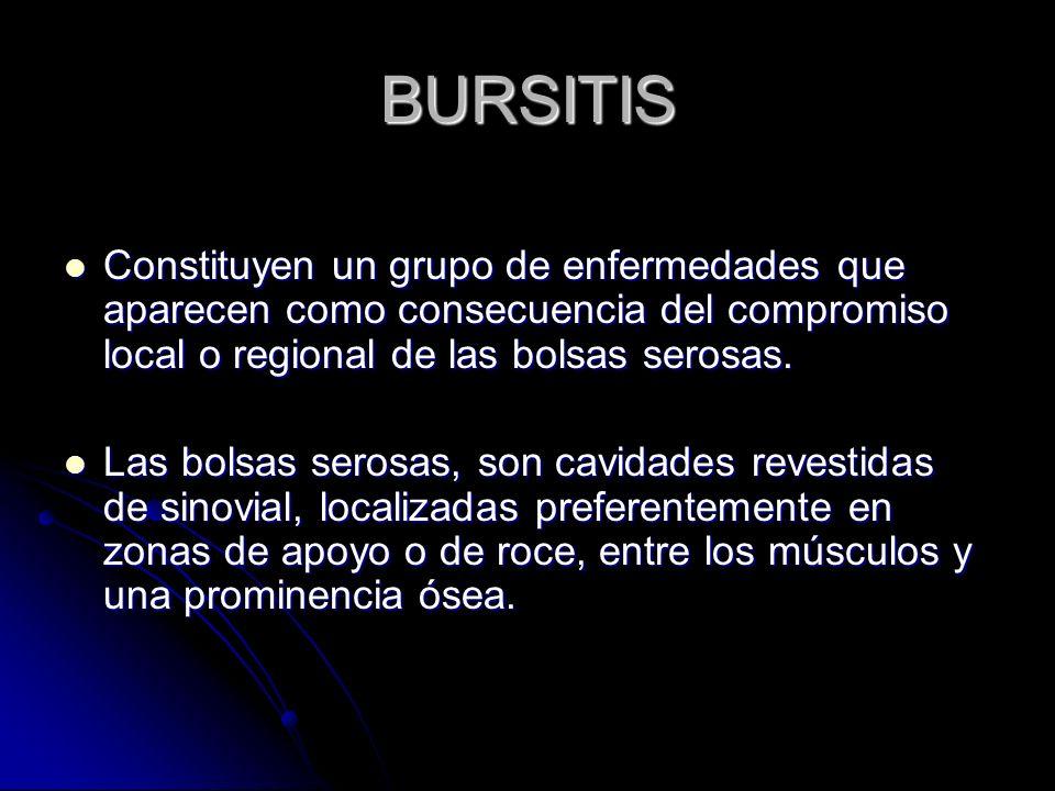 BURSITISConstituyen un grupo de enfermedades que aparecen como consecuencia del compromiso local o regional de las bolsas serosas.