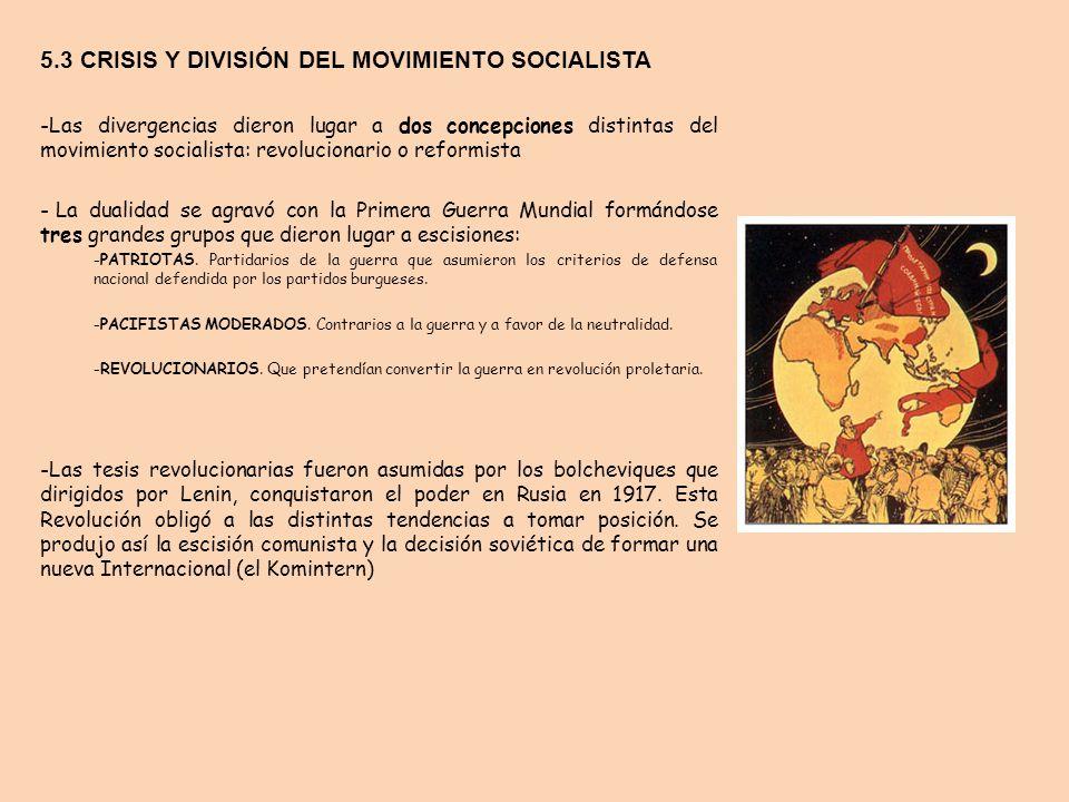 5.3 CRISIS Y DIVISIÓN DEL MOVIMIENTO SOCIALISTA