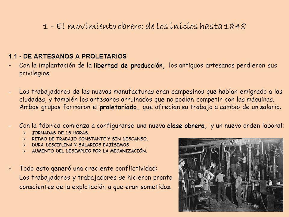 1 - El movimiento obrero: de los inicios hasta 1848