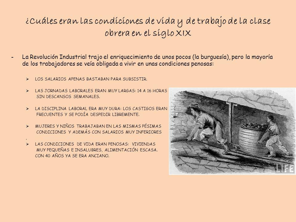 ¿Cuáles eran las condiciones de vida y de trabajo de la clase obrera en el siglo XIX