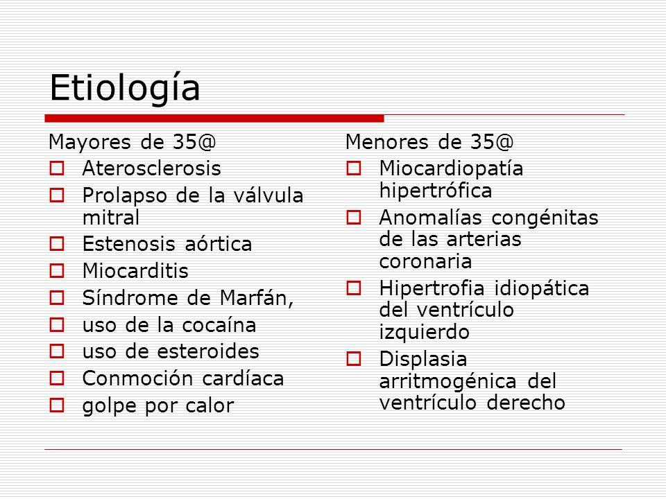 Etiología Mayores de 35@ Aterosclerosis Prolapso de la válvula mitral