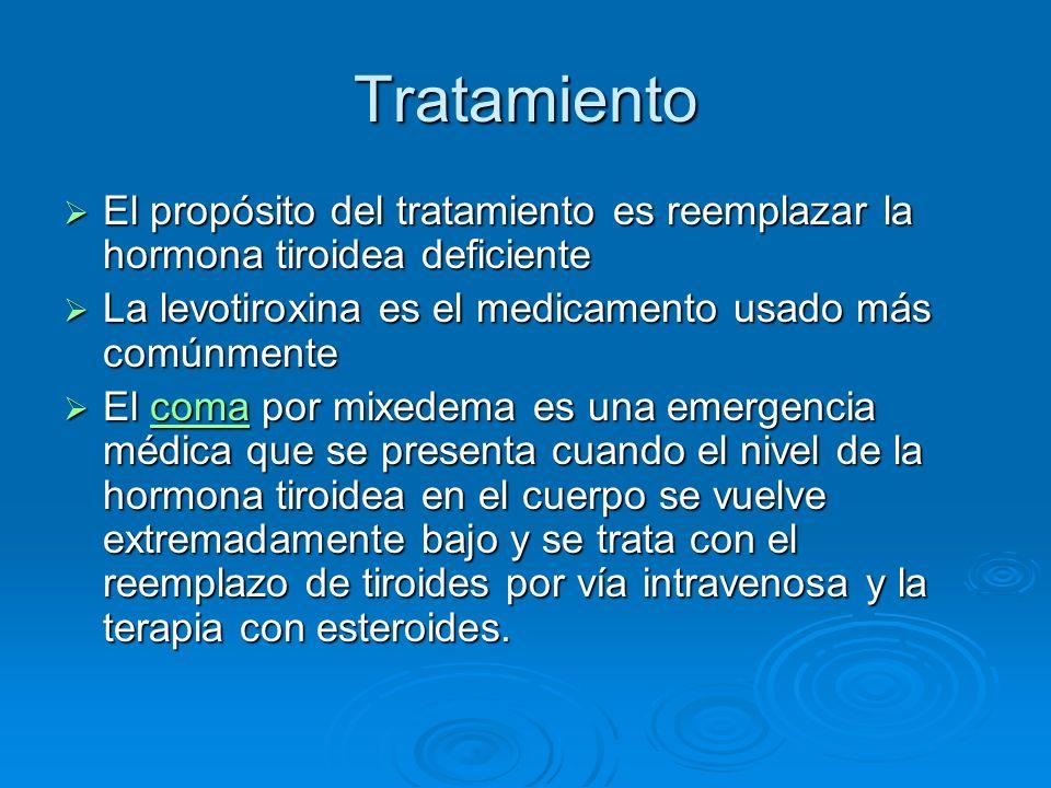Tratamiento El propósito del tratamiento es reemplazar la hormona tiroidea deficiente. La levotiroxina es el medicamento usado más comúnmente.