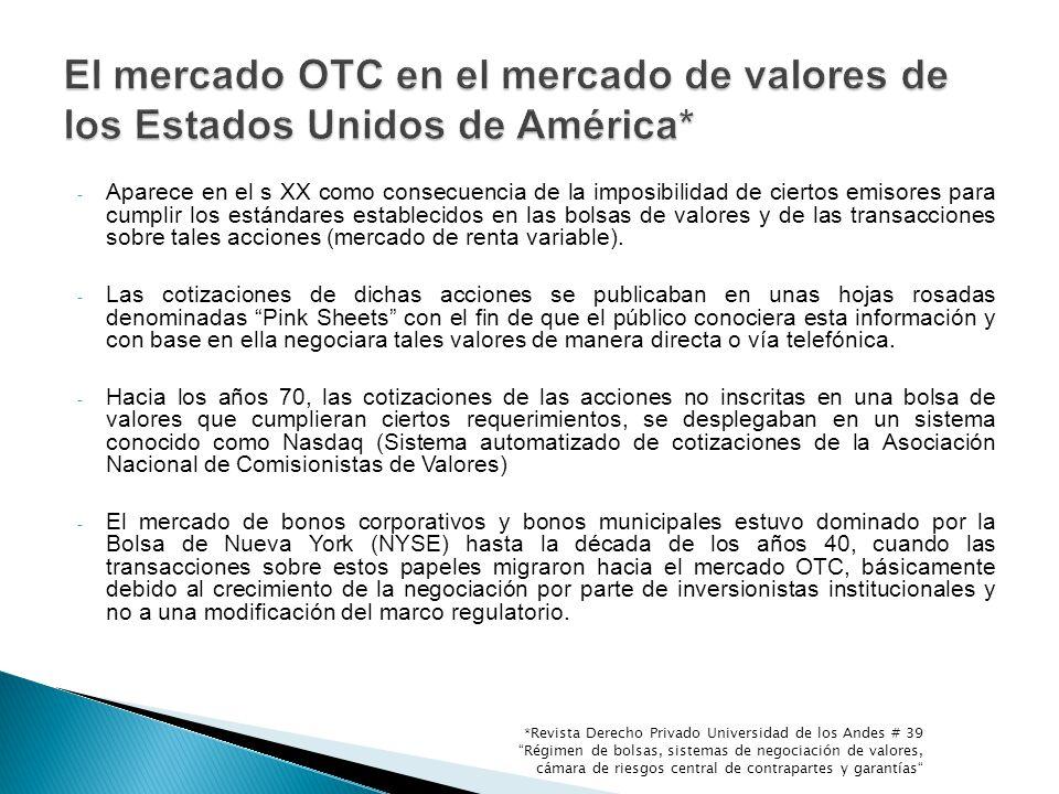 El mercado OTC en el mercado de valores de los Estados Unidos de América*