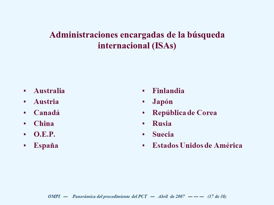 Administraciones encargadas de la búsqueda internacional (ISAs)