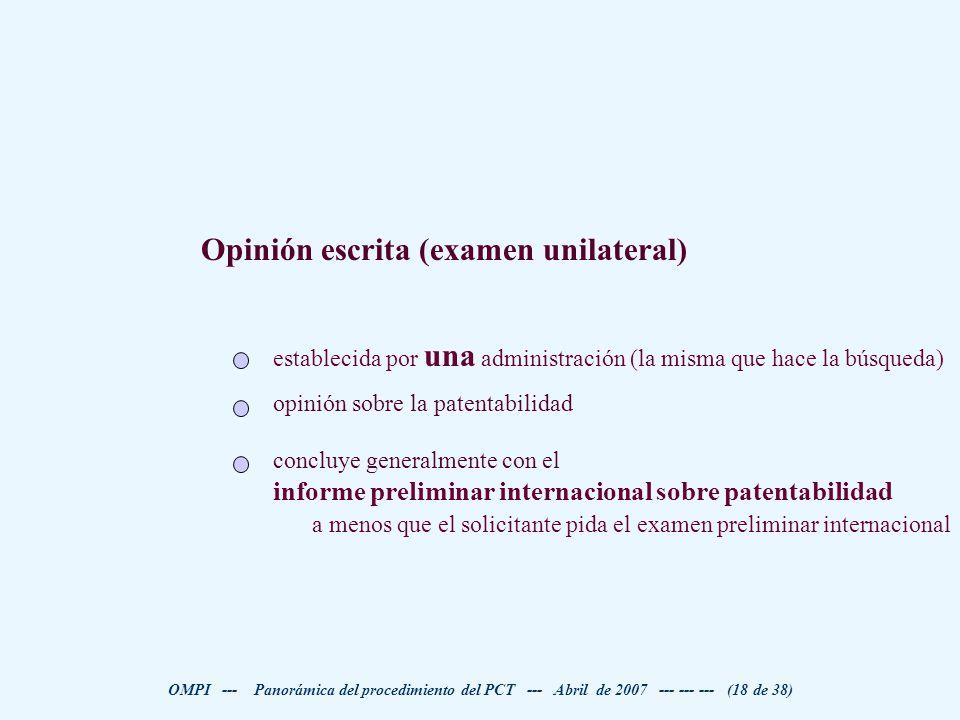 Opinión escrita (examen unilateral)