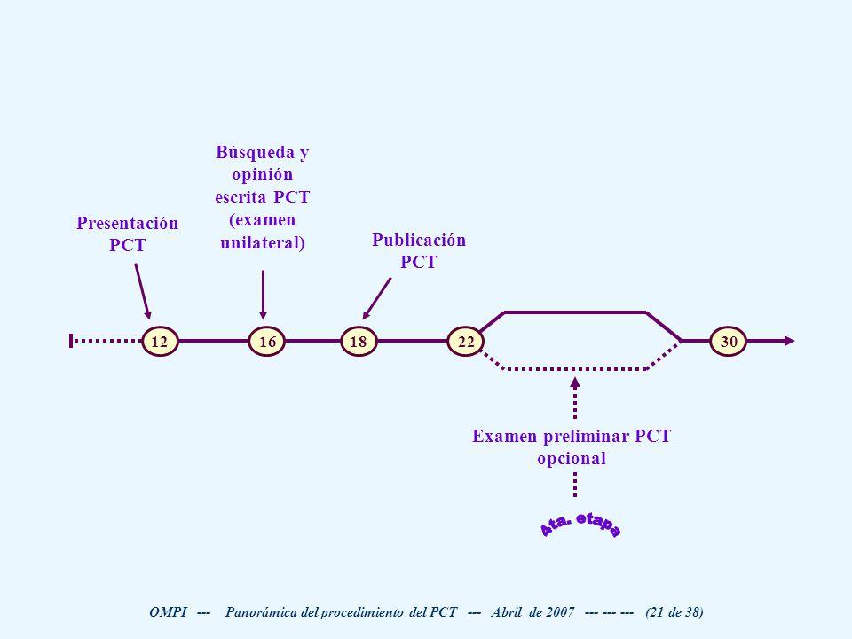 4ta. etapa Búsqueda y opinión escrita PCT (examen unilateral)