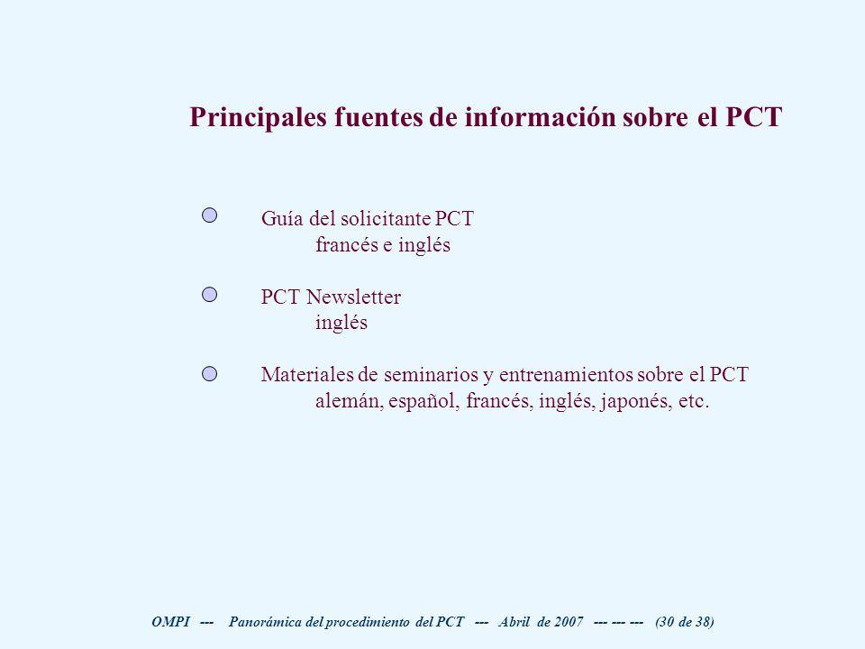 Principales fuentes de información sobre el PCT