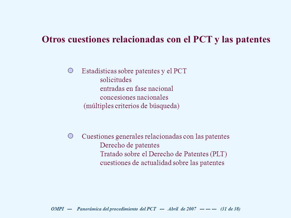 Otros cuestiones relacionadas con el PCT y las patentes