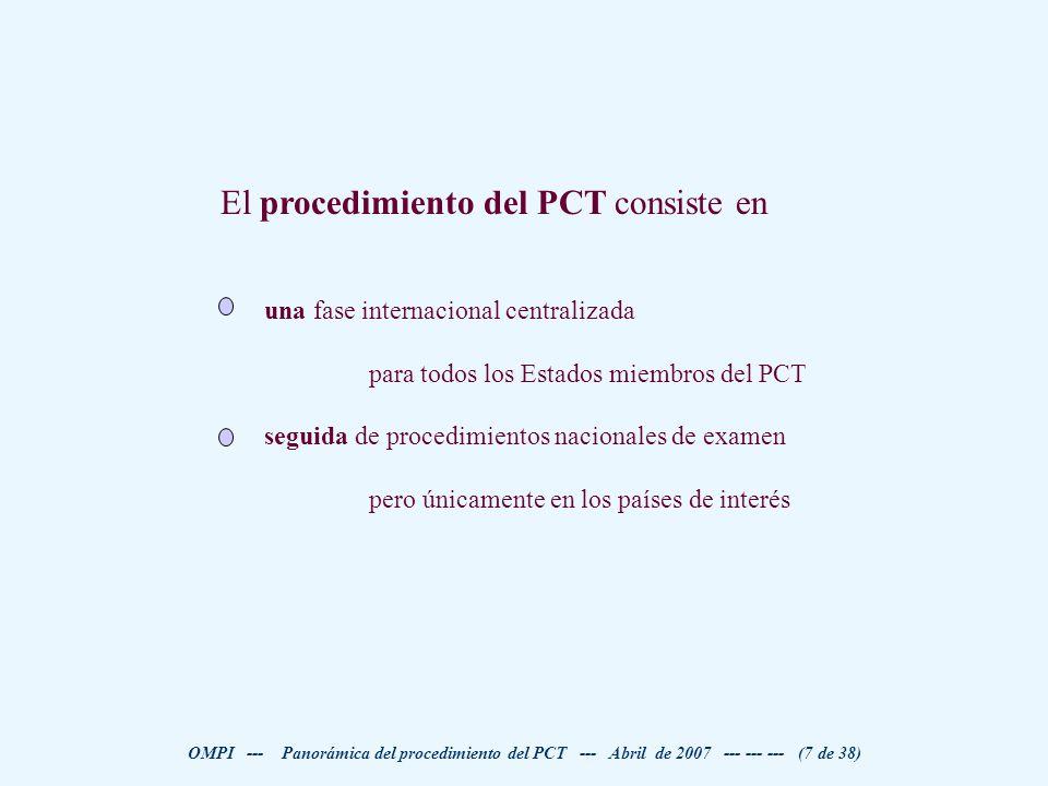 El procedimiento del PCT consiste en
