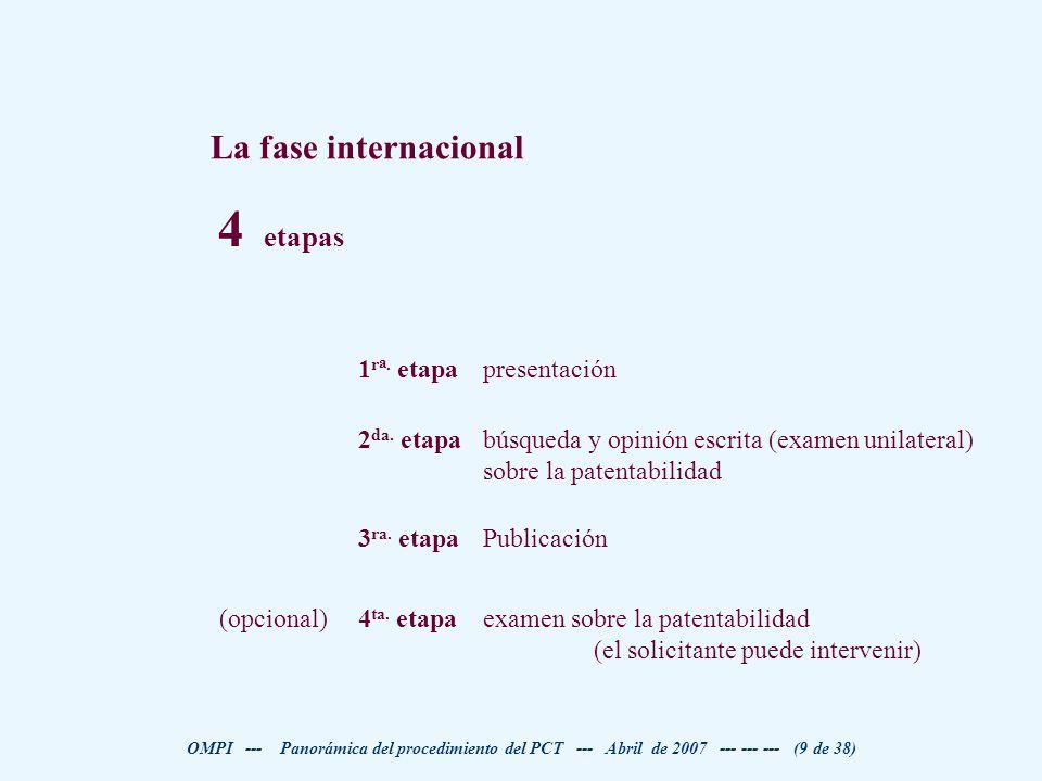 4 etapas La fase internacional examen sobre la patentabilidad