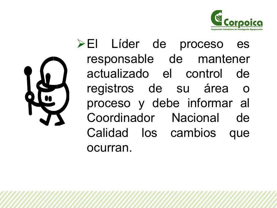 El Líder de proceso es responsable de mantener actualizado el control de registros de su área o proceso y debe informar al Coordinador Nacional de Calidad los cambios que ocurran.