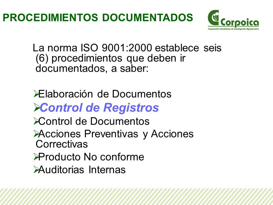 Control de Registros PROCEDIMIENTOS DOCUMENTADOS
