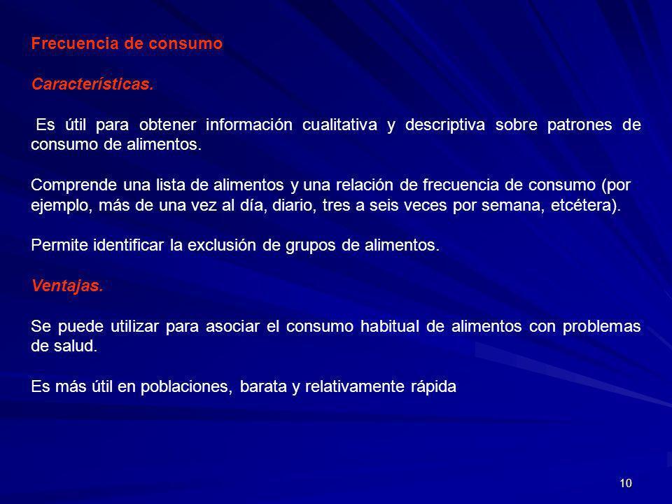 Frecuencia de consumoCaracterísticas. Es útil para obtener información cualitativa y descriptiva sobre patrones de consumo de alimentos.