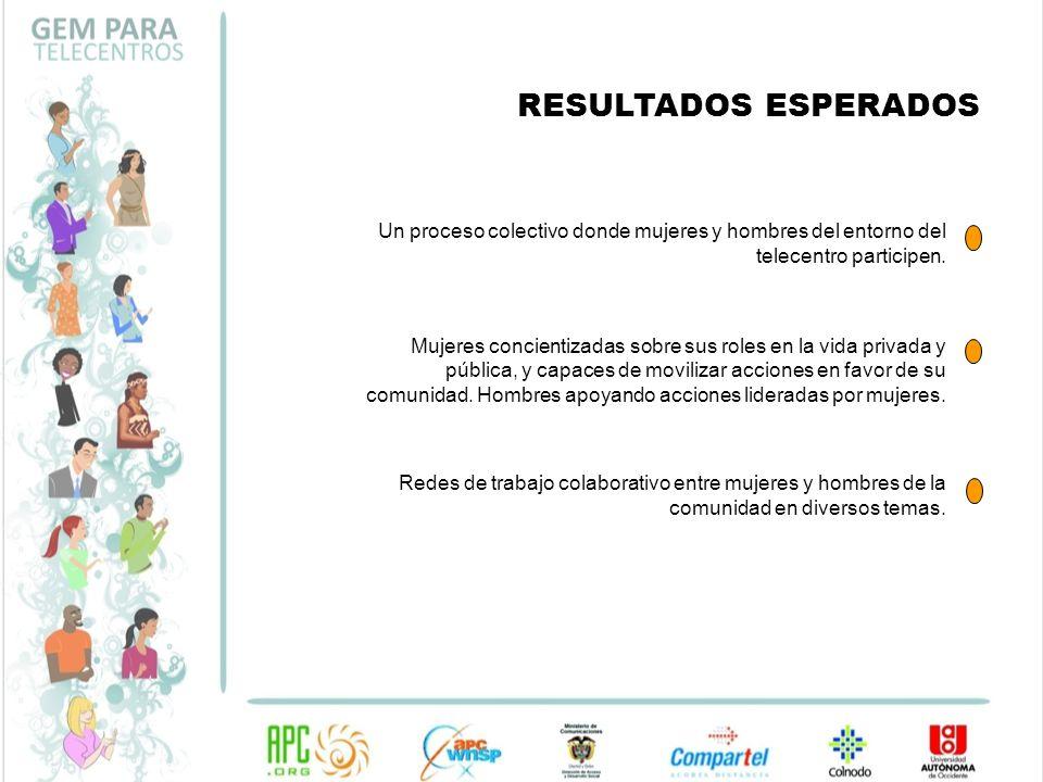 RESULTADOS ESPERADOS Un proceso colectivo donde mujeres y hombres del entorno del telecentro participen.