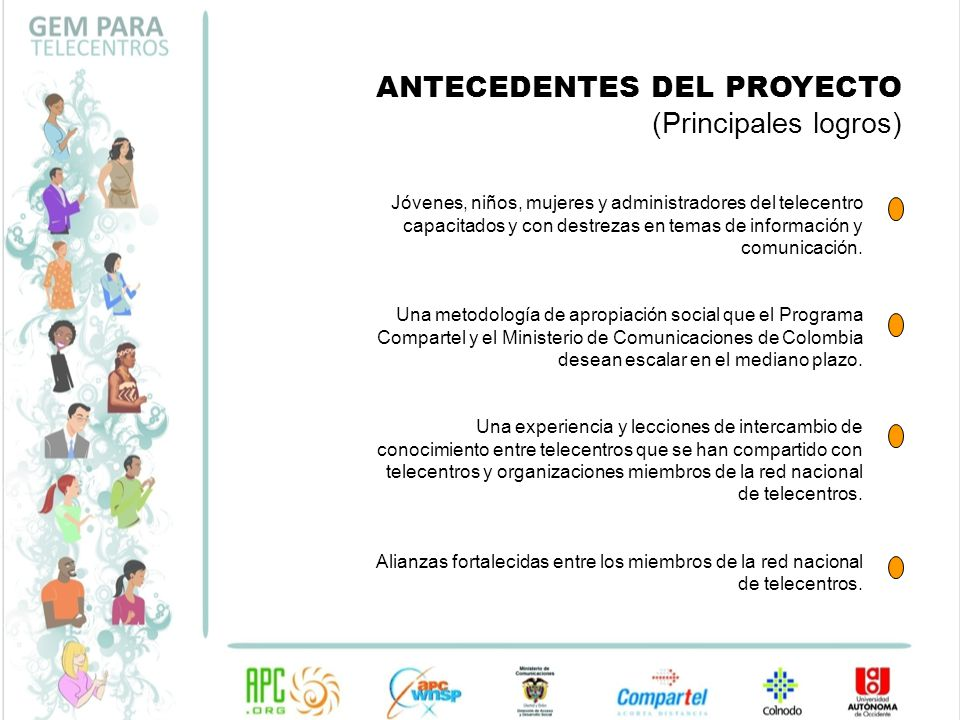ANTECEDENTES DEL PROYECTO (Principales logros)