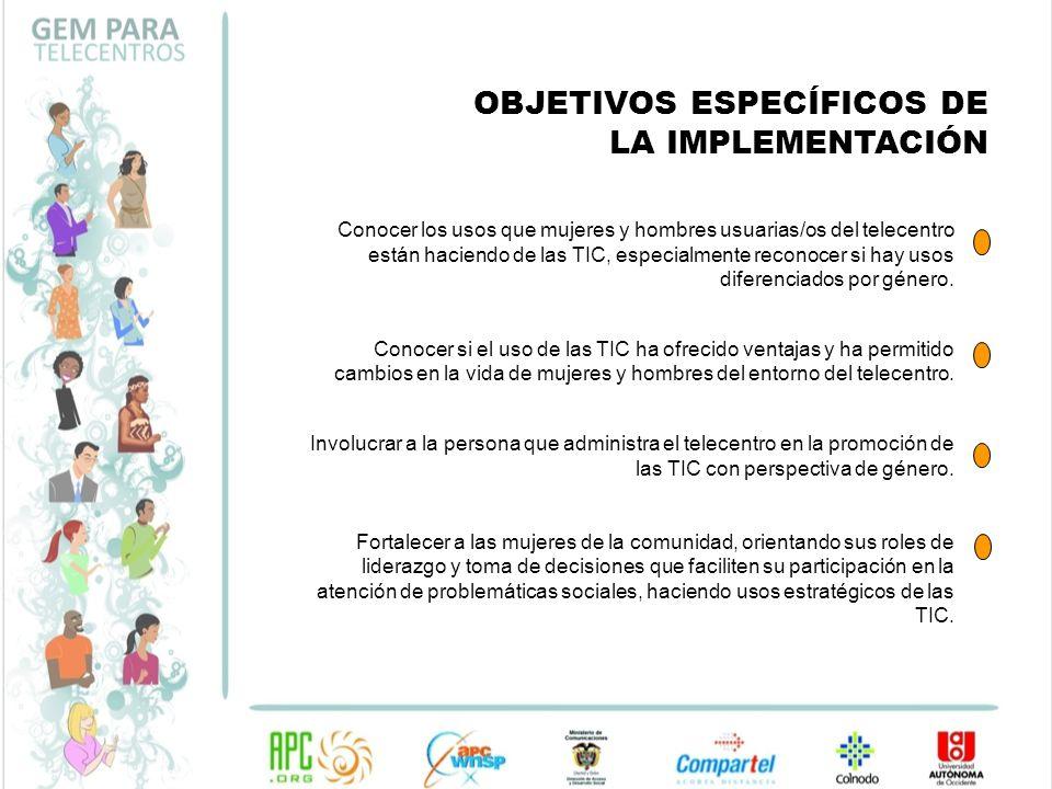 OBJETIVOS ESPECÍFICOS DE LA IMPLEMENTACIÓN