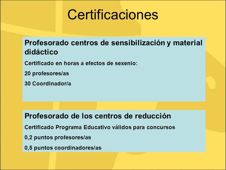 Certificaciones Profesorado centros de sensibilización y material didáctico. Certificado en horas a efectos de sexenio: