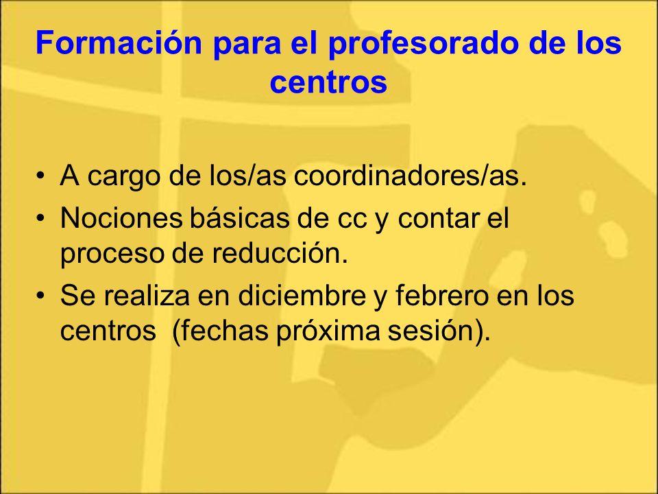 Formación para el profesorado de los centros