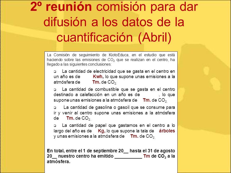 2º reunión comisión para dar difusión a los datos de la cuantificación (Abril)