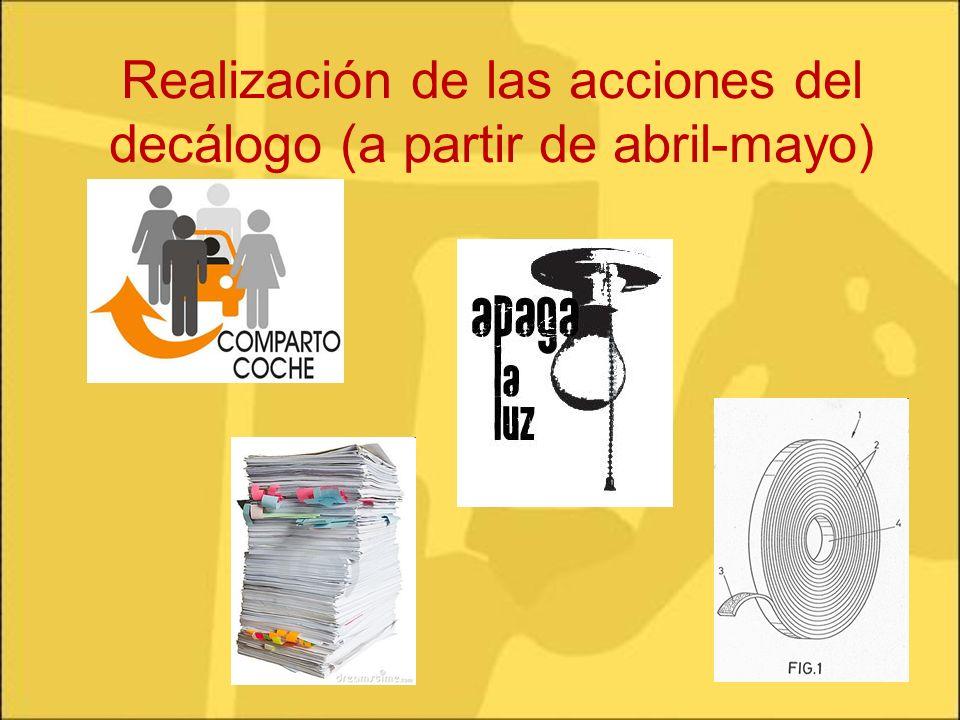 Realización de las acciones del decálogo (a partir de abril-mayo)