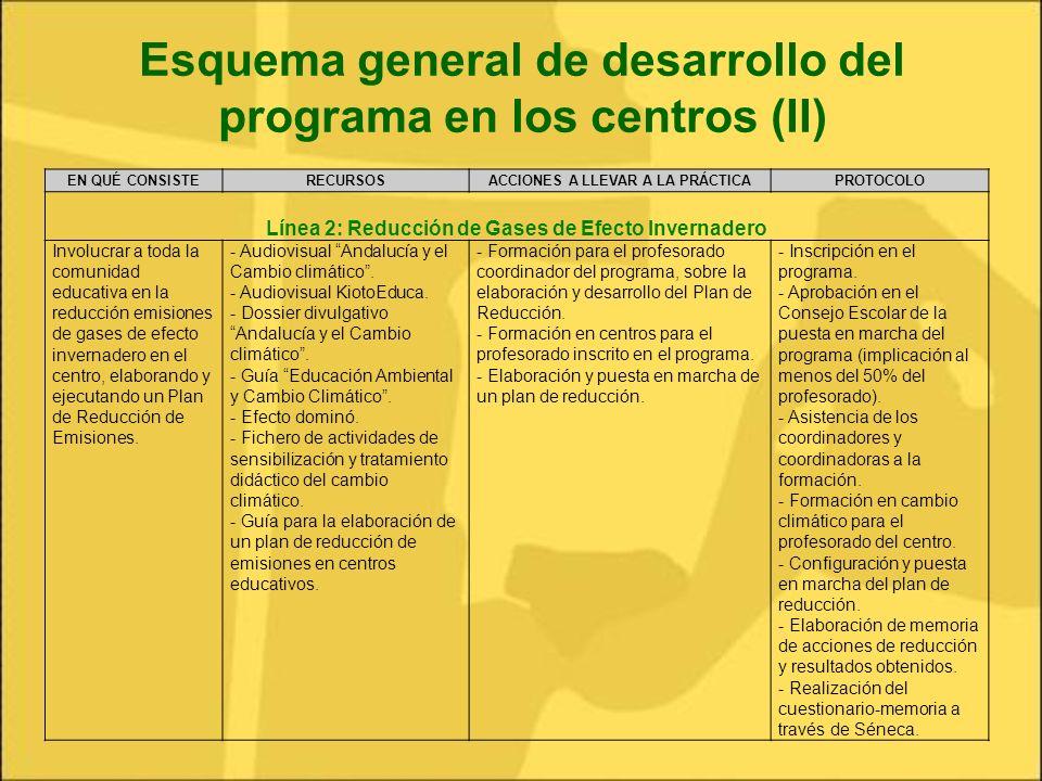 Esquema general de desarrollo del programa en los centros (II)