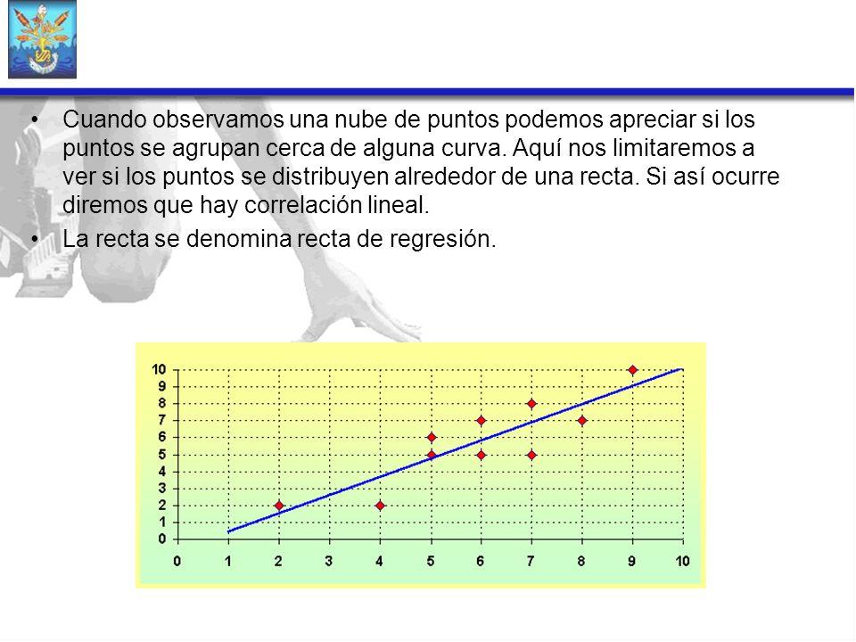 Cuando observamos una nube de puntos podemos apreciar si los puntos se agrupan cerca de alguna curva. Aquí nos limitaremos a ver si los puntos se distribuyen alrededor de una recta. Si así ocurre diremos que hay correlación lineal.