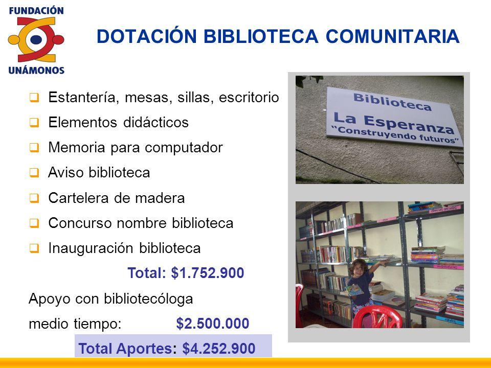 DOTACIÓN BIBLIOTECA COMUNITARIA