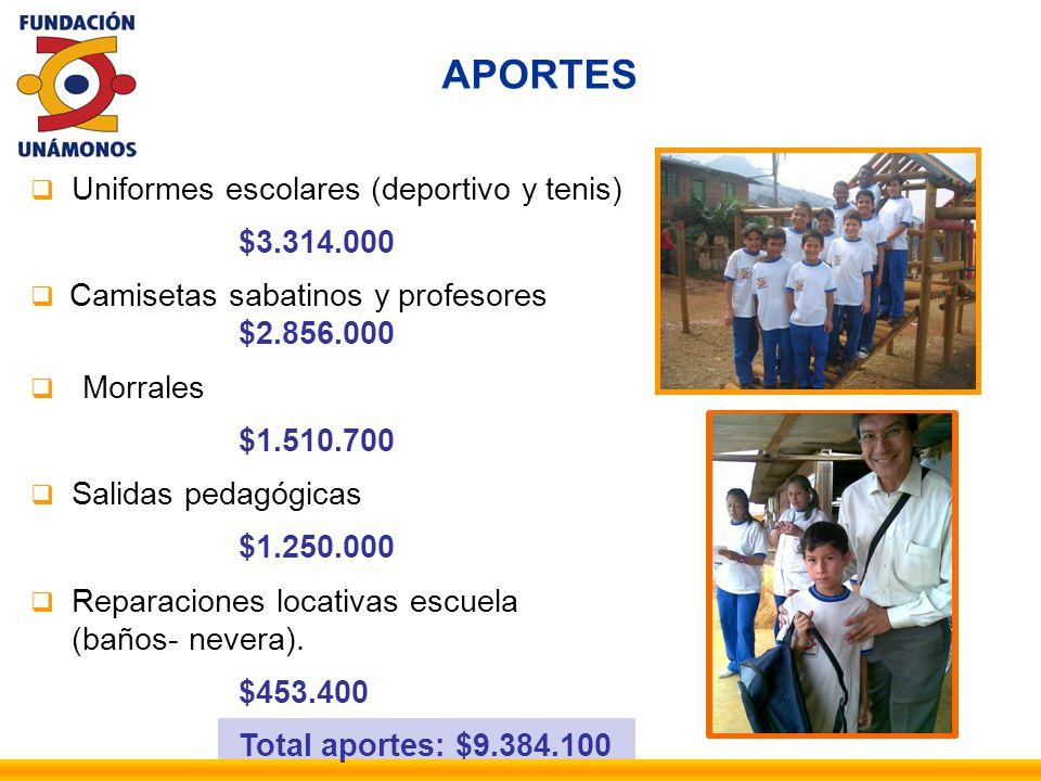 APORTES Uniformes escolares (deportivo y tenis) $3.314.000