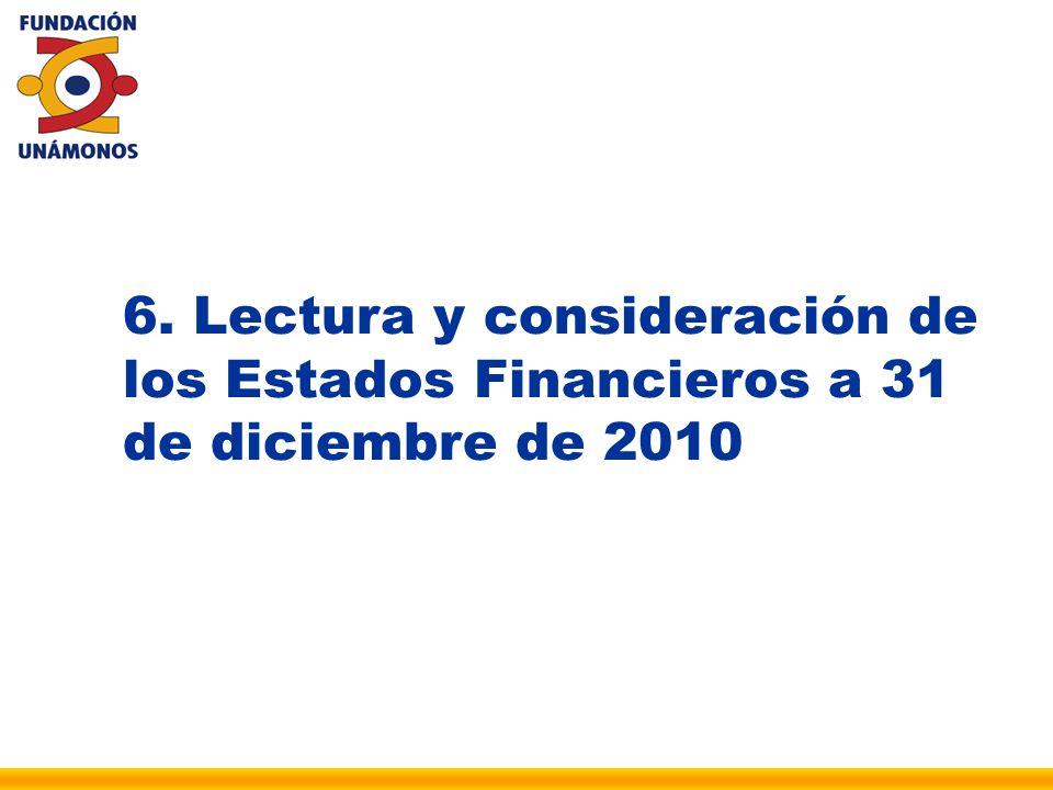 6. Lectura y consideración de los Estados Financieros a 31 de diciembre de 2010