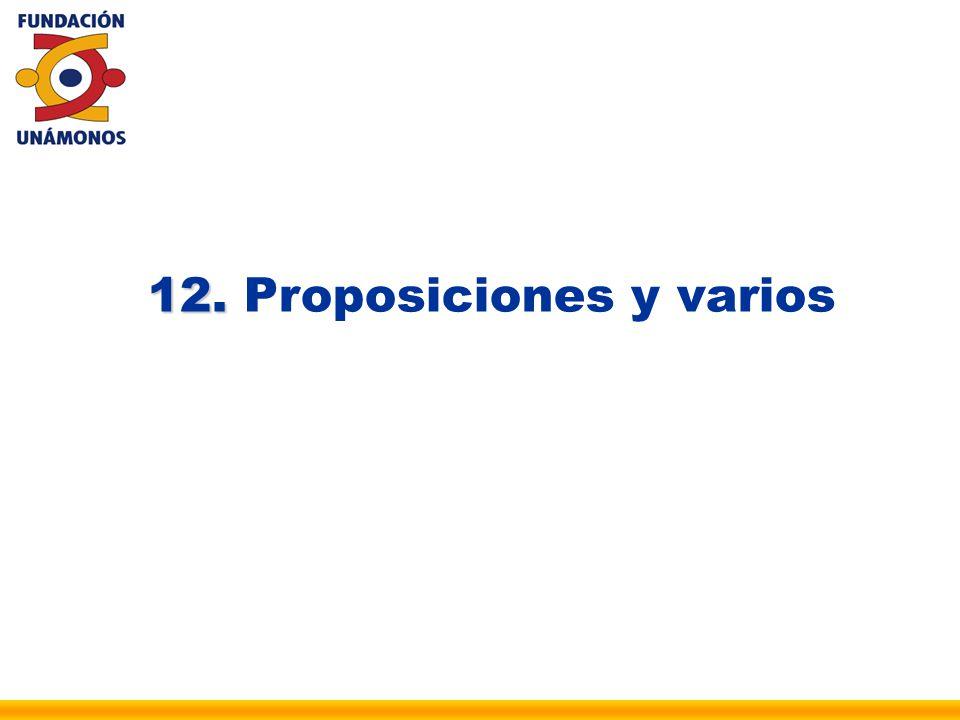 12. Proposiciones y varios