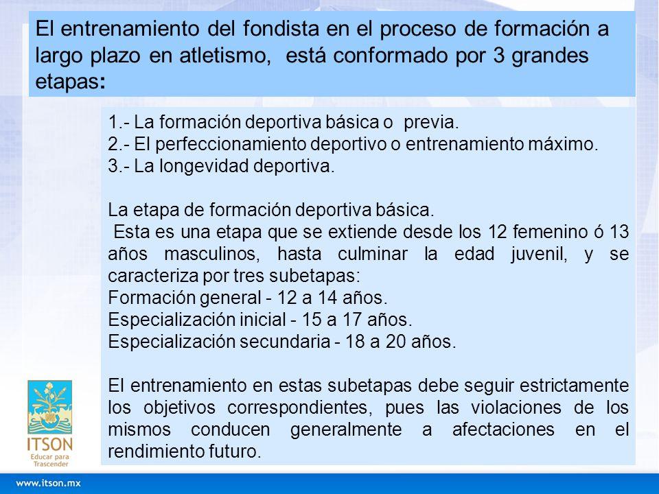 El entrenamiento del fondista en el proceso de formación a largo plazo en atletismo, está conformado por 3 grandes etapas: