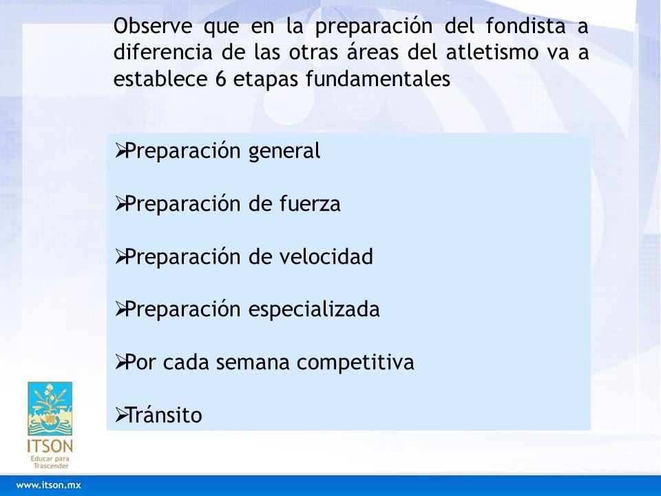 Observe que en la preparación del fondista a diferencia de las otras áreas del atletismo va a establece 6 etapas fundamentales