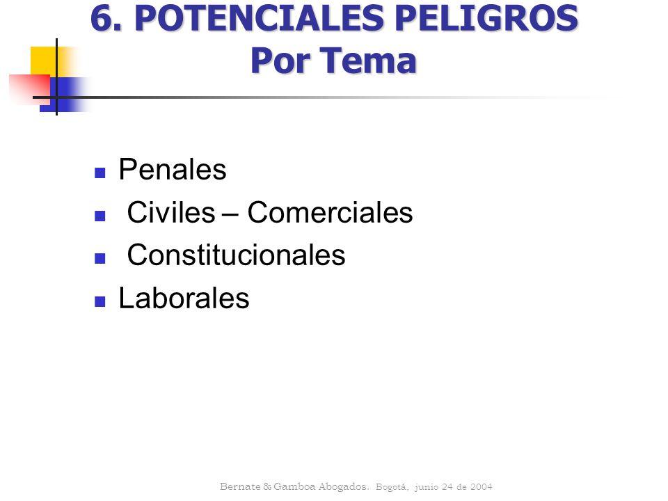 6. POTENCIALES PELIGROS Por Tema