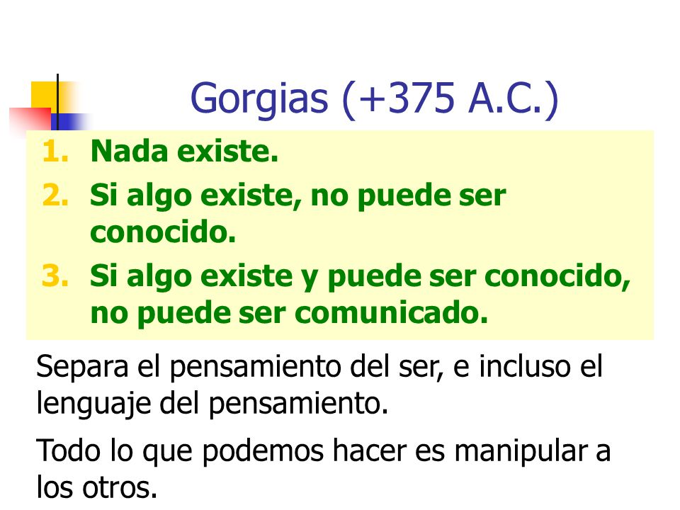 Gorgias (+375 A.C.) Nada existe.