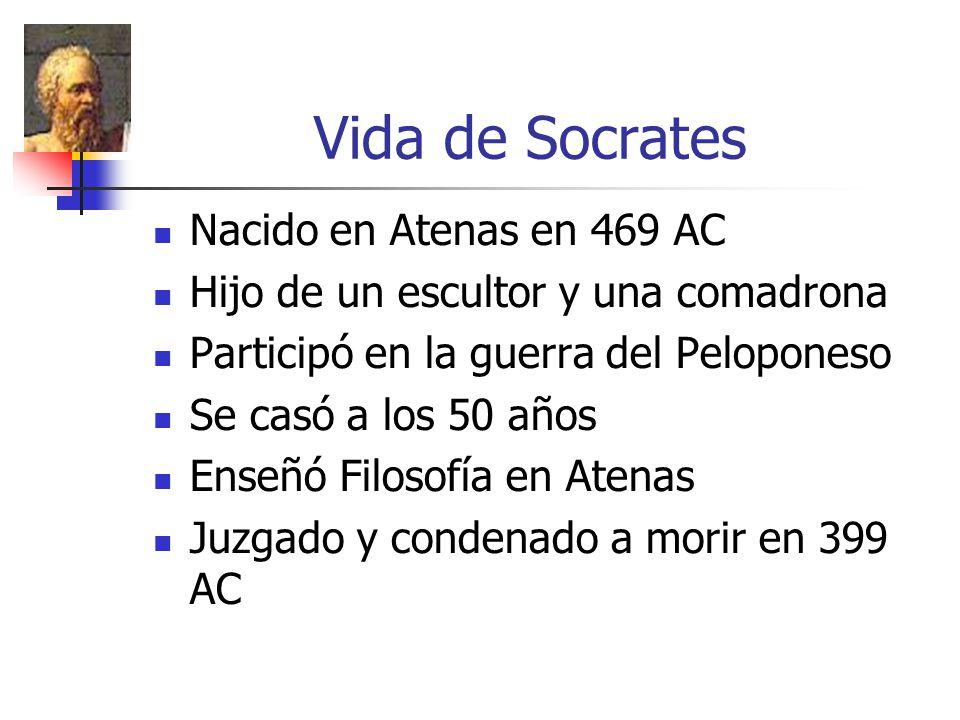 Vida de Socrates Nacido en Atenas en 469 AC