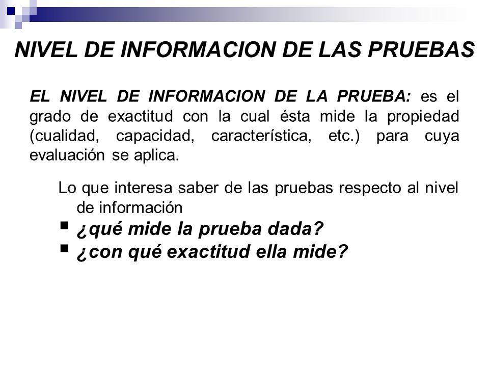 NIVEL DE INFORMACION DE LAS PRUEBAS