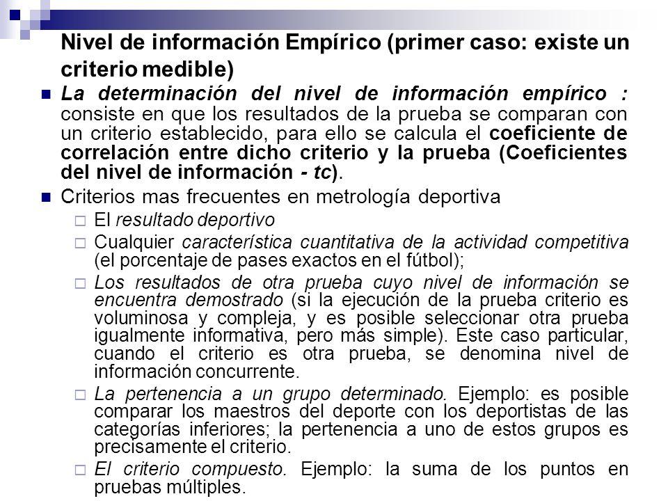 Nivel de información Empírico (primer caso: existe un criterio medible)