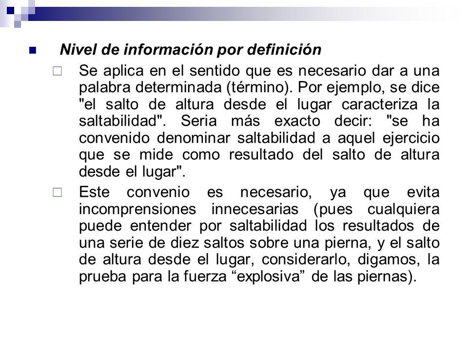 Nivel de información por definición