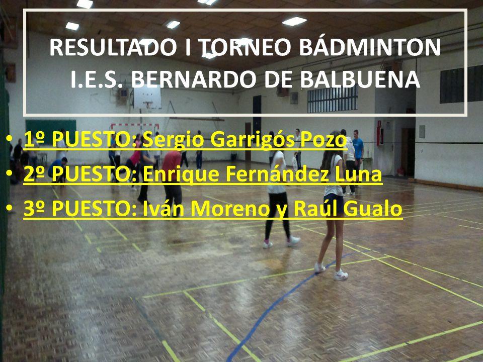 RESULTADO I TORNEO BÁDMINTON I.E.S. BERNARDO DE BALBUENA