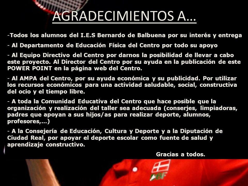 AGRADECIMIENTOS A… Todos los alumnos del I.E.S Bernardo de Balbuena por su interés y entrega.