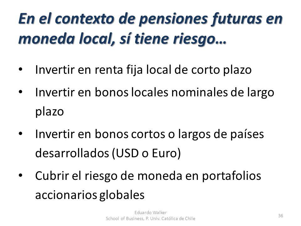 En el contexto de pensiones futuras en moneda local, sí tiene riesgo…
