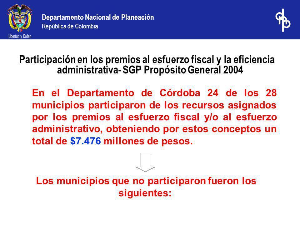 Los municipios que no participaron fueron los siguientes:
