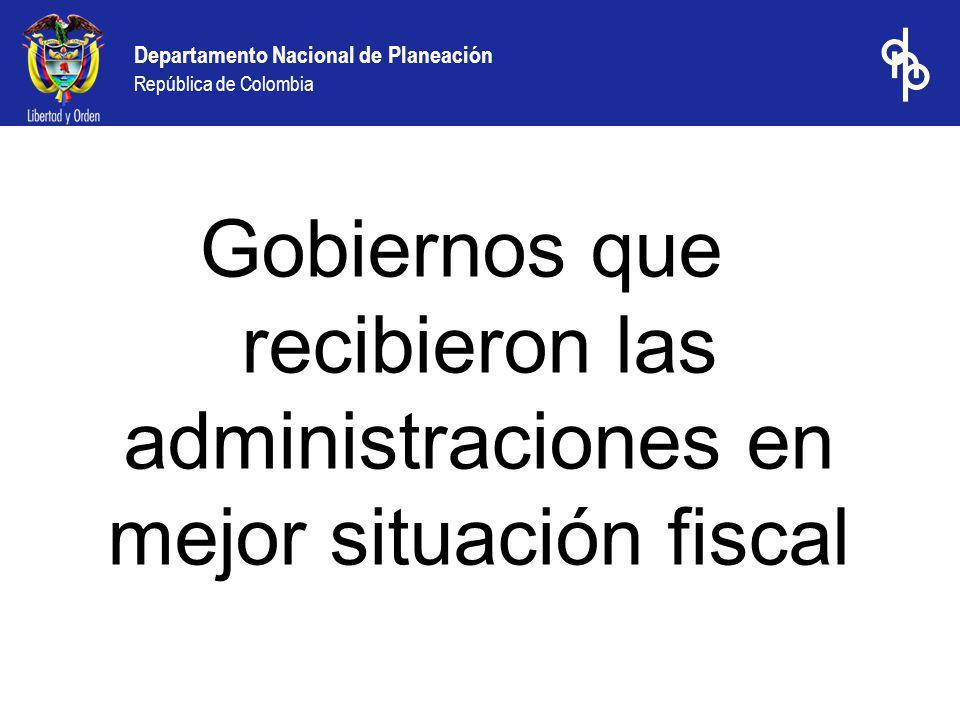 Gobiernos que recibieron las administraciones en mejor situación fiscal